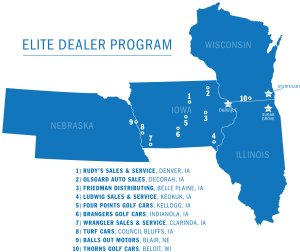 map of elite Harris Golf Car dealers from Nebraska to Wisconsin