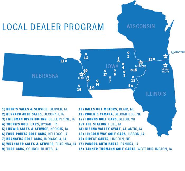 Harris Golf Cars Elite Dealer Map IA, IL, NE, WI