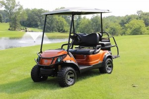 New Yamaha Atomic Orange Adventurer 2+2 Gas Golf Car-Iowa, Illinois, Wisconsin, Nebraska-Harris Golf Cars