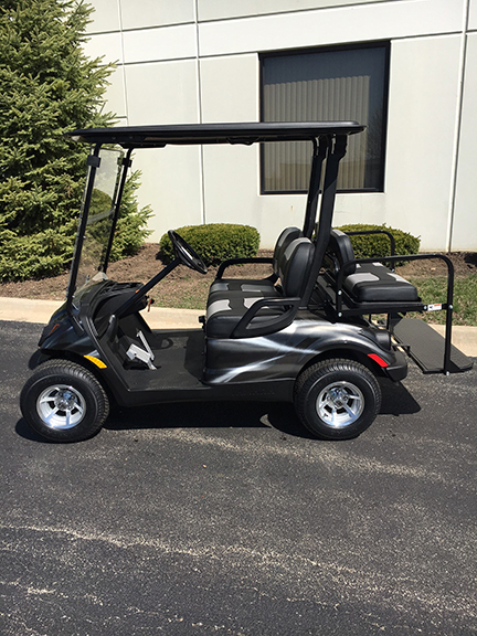 custom silver swirl golf cart-Harris Golf Cars-Iowa, Illinois, Wisconsin, Nebraska