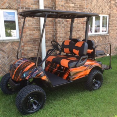 Custom Orange Black Golf Car-Harris Golf Cars-Iowa, Illinois, Wisconsin, Nebraska