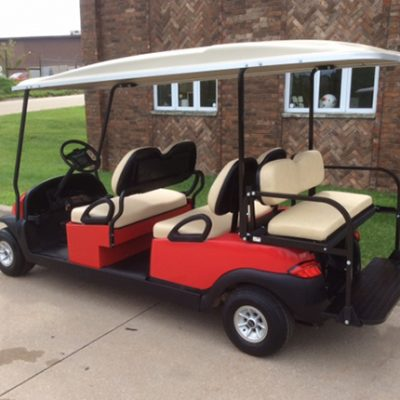 6 passenger bright red-Harris Golf Cars-Iowa, Illinois, Wisconsin, Nebraska