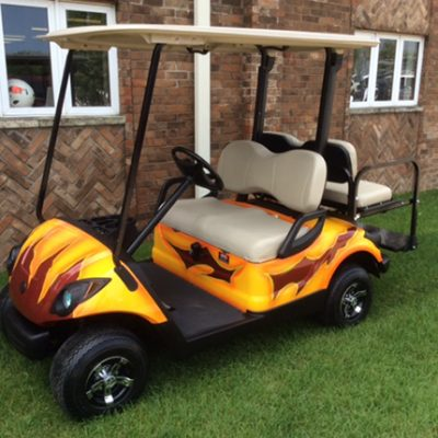 custom red and yellow gas golf car-Harris Golf Cars-Iowa, Illinois, Wisconsin, Nebraska