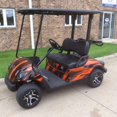 orange, black gas golf car-Harris Golf Cars-Iowa, Illinois, Wisconsin, Nebraska