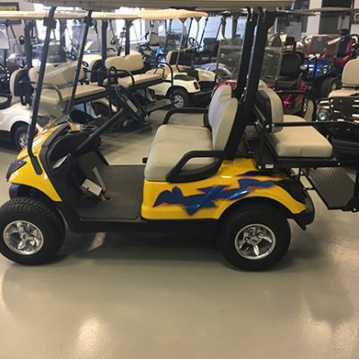 Custom Yellow and Blue Golf Car-Harris Golf Cars-Iowa, Illinois, Wisconsin, Nebraska
