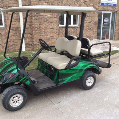 Custom Black and Green Golf Car-Harris Golf Cars-Iowa, Illinois, Wisconsin, Nebraska