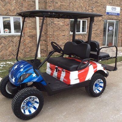 Custom Flag Golf Car-Harris Golf Cars-Iowa, Illinois, Wisconsin, Nebraska