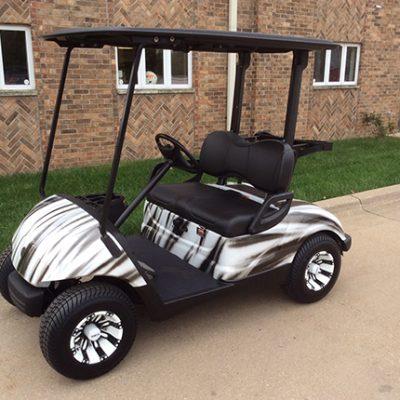 black and white custom golf car-Harris Golf Cars-Iowa, Illinois, Wisconsin, Nebraska