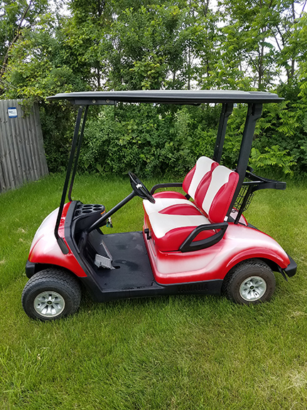 2008 Yamaha Red White=Harris Golf Cars-Iowa, Illinois, Wisconsin, Nebraska