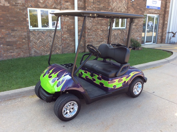 Custom Purple and Green-Harris Golf Cars-Iowa, Illinois, Wisconsin, Nebraska