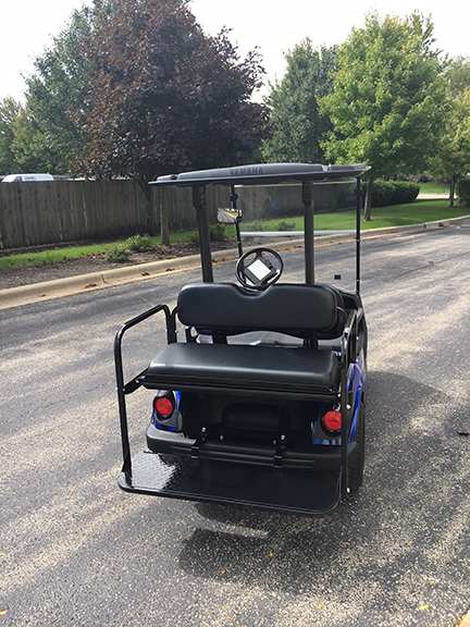 2013 Blue and Black Swirl 4-Passenger Golf Car
