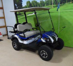 Custom Blue and White Golf Car